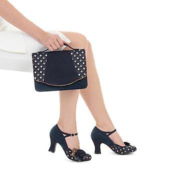 Ruby Shoo Dee Navy Spot Puolivälissä Kantapää Mary Jane & Matching Belfast Bag