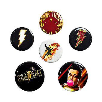 Shazam, 6x Pins - Mix