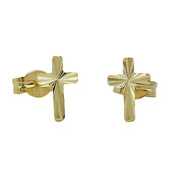 Goujons croisent bouchon 333 brillant or boucles d'oreilles or Croix Croix, 8 kt GOLD