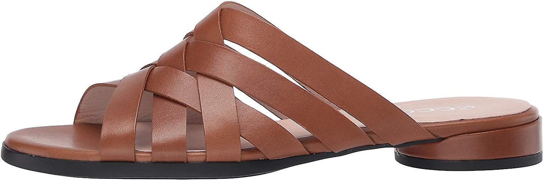 ECCO Damskie Flat Leather Peep Toe Casual Sandały slajdów VPUvL