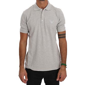 Frankie Morello Gray Cotton Stretch Polo T-Shirt