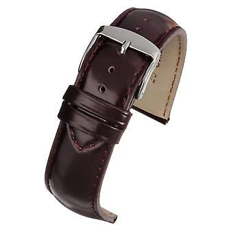 Calf leather watch strap burgundy gloss superior grade