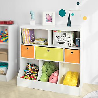 SoBuy KMB26-W, Kids Kids Bookcase Book Estante Estantería Almacenamiento de la Unidad de Almacenamiento de La Nalalmacenaje Organizador de Estanterías con Cajones de Tela