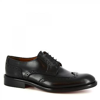 Leonardo Shoes Men's handmade brogues oxfords shoes in black calf leather