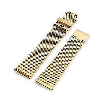 Strapcode watch bracelet 20mm, 22mm tapered milanese wire mesh band, polished ip gold
