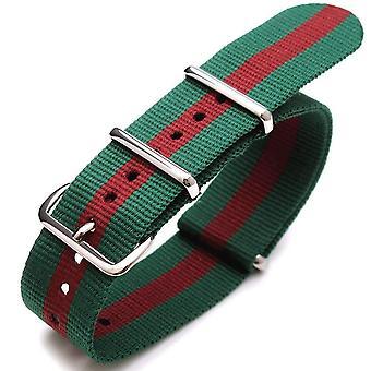 Strapcode n.a.t.o حزام ووتش 22mm g10 حلف شمال الأطلسي جيمس بوند حزام النايلون الثقيلة مصقول - الأخضر والأحمر والأخضر (البرتغال)