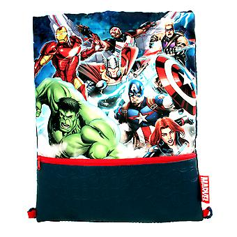 Marvel Avengers Symbol Drawstring Sports Trainer Bag Blue