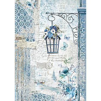 Stamperia Rice Paper Sheet A4-Blue Land Lamp