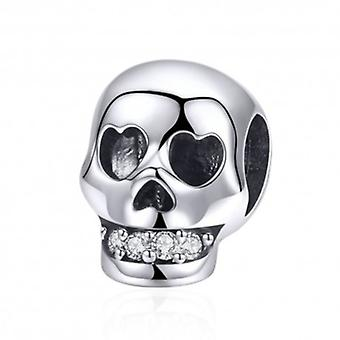 Sterling Silver Charm Skull With Shiny Teeth - 5917