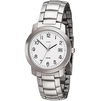 Relógio do JOBO relógio quartzo analógico aço inoxidável homens com data