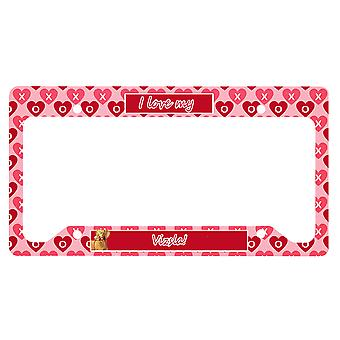 Carolines Treasures  LH9145LPF Vizsla Valentine's Love and Hearts License Plate