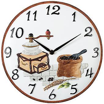 Wall clock wall clock kitchen watch quartz coffee mill stone housing