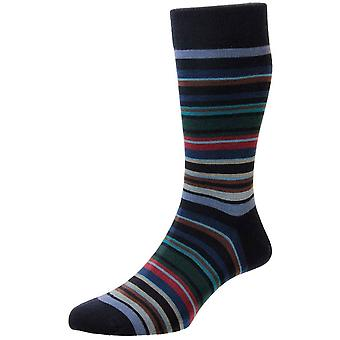 Pantherella Quakers All Over Stripe Merino Wool Socks - Navy/Green/Red