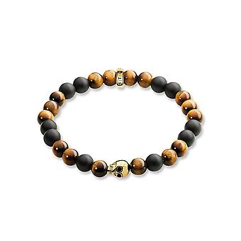Thomas Sabo Tigers Eye, Matt Obsidian & Gold Schädel Perle Armband