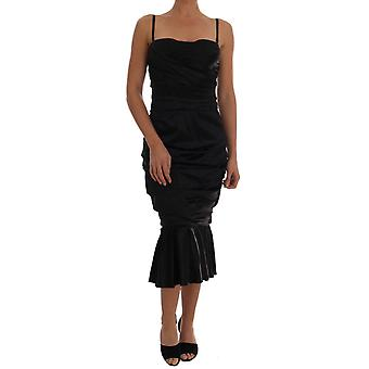 Dolce & Gabbana Black Mermaid Ruched Gown Dress DR1296-44