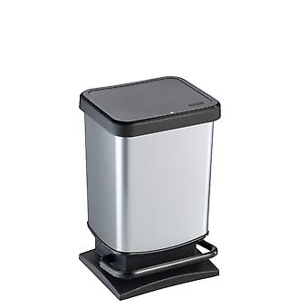 ROTHO Treteimer PASO 20 Liter eckig Silber metallic | Mülleimer für die einfache Müllentsorgung