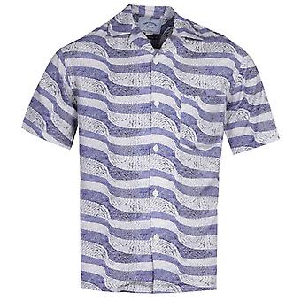 Portuguese Flannel Calcada Portuguesa Blue Stone Path Pattern Short Sleeve Shirt