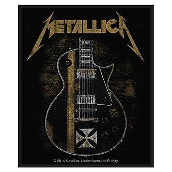 Parche de Metallica Hetfield guitarra Logo oficial nuevo negro algodón de coser 10 cm x 8 cm