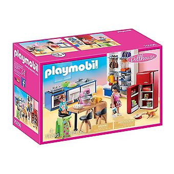 playmobil 70206 dollhouse family kitchen playset 129pcs for ages 4 and above