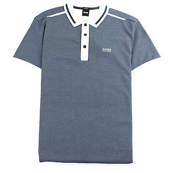 Hugo Boss Paddy 2 Regular-fit Polo Shirt With Jacquard Navy