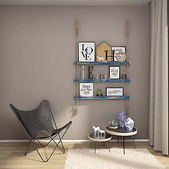 Halatli Regal Farbe blau, Ecru Holz, Juta, L100xP9xA125 cm