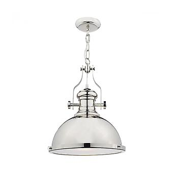 Arona Pendant Lamp Polished Chrome And Frosted Glass 1 Bulb