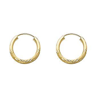 14k giallo oro 2mm Budded Sparkle Cut Endless Hoop 15mm Orecchini gioielli regali per le donne - .6 Grams