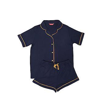 Minijammies Alexa 5633 Girl's Navy Blue Shorty Pyjama Set