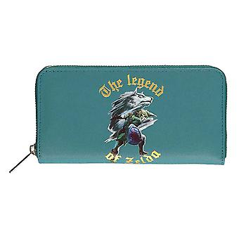 Legend of Zelda Purse Fight Logo new Official Nintendo Green Zip Around