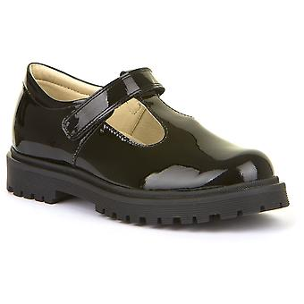 Froddo Girls G3140113-1 T-bar School Shoes Black Patent Leather