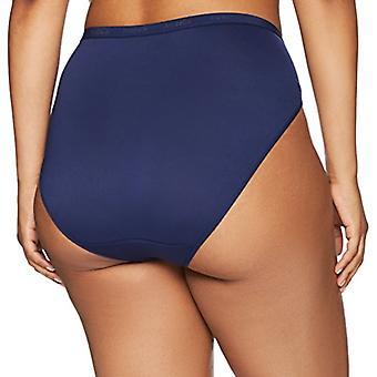 Brand - Arabella Women's Microfiber Hi Cut Brief Panty, 3 Pack, Navy/N...