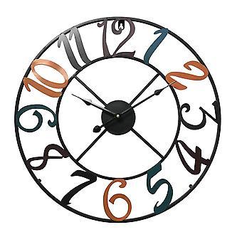 Rebecca huonekalut kello seinä metalli värillinen moderni analoginen kierros 50x50x4.5