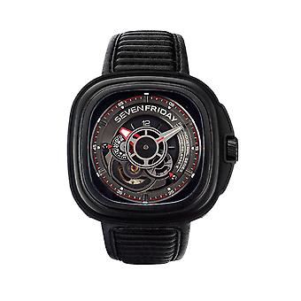 Sevenfriday P3B-01 'P-Series' Racer Black Leather Automatic Men's Watch