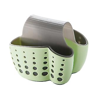 Saddle type Kitchen Sponge Sink basket Green 14.5x14x12.4cm