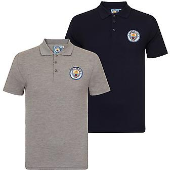 Manchester City FC Official Football Gift Boys Crest Polo Shirt