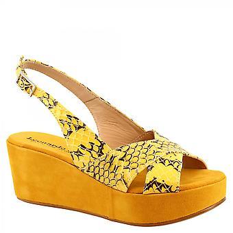 Leonardo Shoes Femmes's faits à la main slingback wedges sandales en cuir python jaune