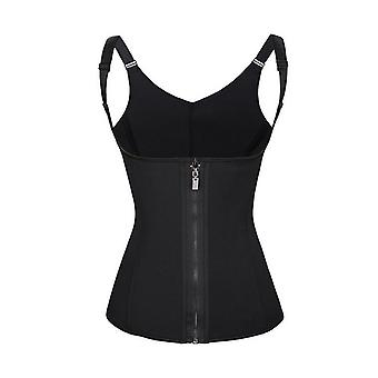 Women's corset with clasps and zipper Stl XXL - Black