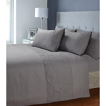 Venezia Quilted Panel Design Duvet Quilt Cover Bedding Set with Pillow Cases