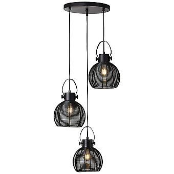 BRILLIANT Lampe Sambo Vedhæng Lampe 3flg Rondell Black   3x A60, E27, 60W, f. normale lamper n. ent.   Kan justeres i højden