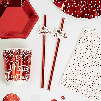 'Merry Christmas' Red Paper Party Straws - Tableware x 10