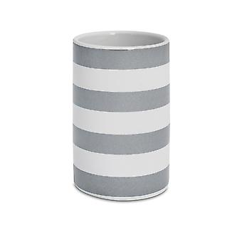Toothbrush Tumbler - Glazed Ceramic Bathroom Cup - Grey and White