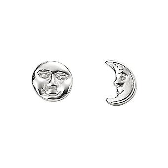 Inizio Sterling Silver Luna Faccia Borchia Orecchini A2059