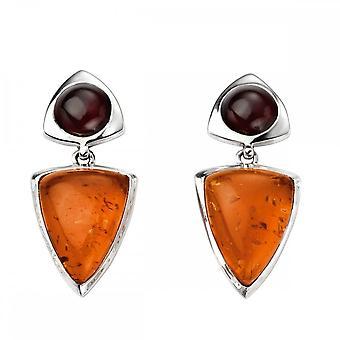 Beginnings Sterling Silver E5382R Amber Garnet Multi Shape Earrings