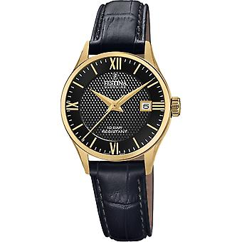 Festina Swiss F20011-4 Women's Gold Tone Case Black Leather Wristwatch