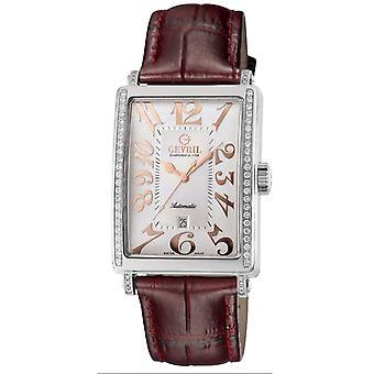 Gevril Kvinnor's 6208RE Glamour Automatisk Diamond Läder Datum Armbandsur