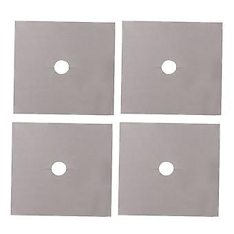 4x Silver Gas Range Stove Top Burner Protector Liner Mat 0.12mm Thick