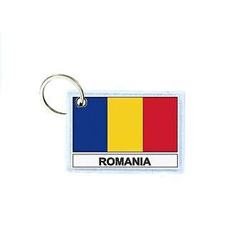 Porte cles cle clefs imprime double face drapeau RO roumanie