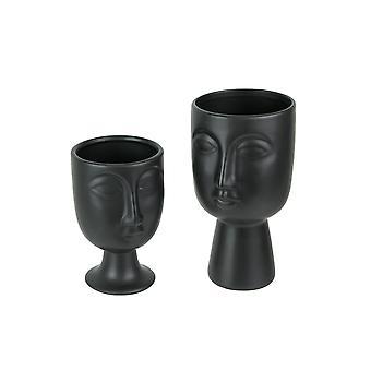 Ensemble de 2 Planteurs de visage en céramique d'art moderne noir mat / vases pots décoratifs de fleurs grandes et petites