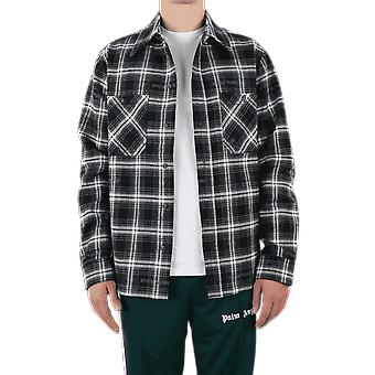 OFF WHITE Stencil Flannel Check Shirt Black OMGA133E20FAB0011010 Top