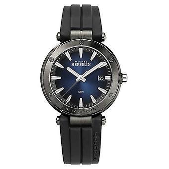 Michel Herbelin Men's Newport | Zwarte rubberen band | Blauwe wijzerplaat 12288/G15CA Horloge